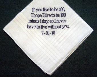 Wedding Hankie from Bride to Groom 2 Personalized GROOM handkerchief