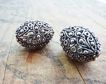 Silver Filigree Beads Ornate Handmade Beads (2) IS415