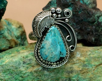 Kingman Turquoise & Sterling Silver Ring Sz 8