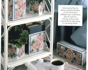 Cabbage Roses ~  plastic canvas pattern