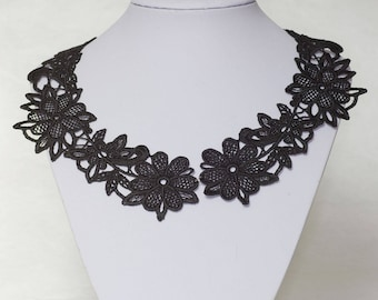 Black lace necklace, embroidery lace, lace jewelry, black lace, wedding jewelry, bridesmaid gift,  boho necklace, gift for her, elegant lace