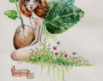 Fairy painting- Faerie holding a seed-print