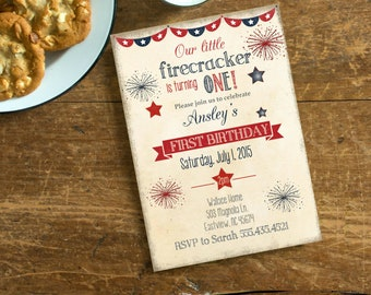 Fourth Of July Birthday Invite, Vintage Independence day Invite, Our little Firecracker, Personalized Year Birthday Invite