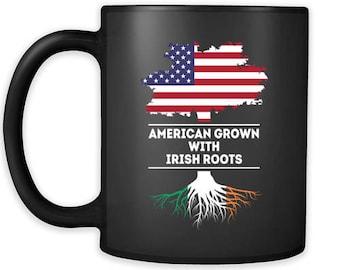 Mug Irish-American, Irish Heritage - American grown with Irish roots mug - Irish Mugs Irish Coffee Mugs (11oz) Black