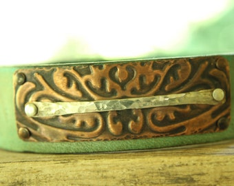 Handmade leather cuff, handmade jewelry, Unique jewelry, etched copper jewelry, leather jewelry