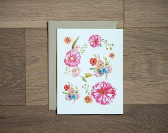 Floral card - blank - birthday - thank you - thinking of you