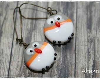 -Pierced earrings - cute little owls-