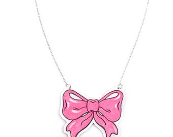 Necklace Ribbon Pink
