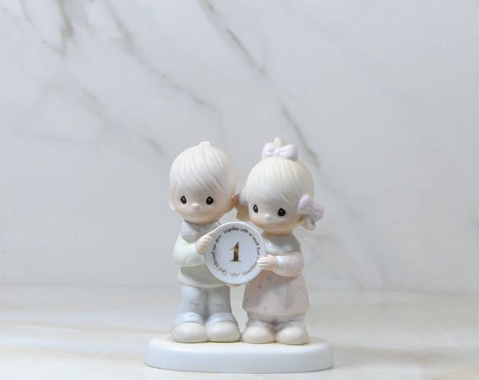 Vintage Precious Moments, Figurine, 1st Anniversary, 1983, Jonathan And David, Ceramic Figurines, Boy And Girl, E-2854, Enesco, Bisque