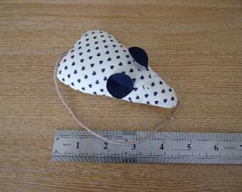 Catnip Mouse/ Mice Cat Toy Blue Heart Print Handmade