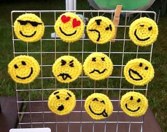 Emoticon Party Favors, Set of 6 Emoji Pins, Hippie Party favors, Smiley Face, Texting Faces, Emoticon Pins, Emoji Birthday Party Favors