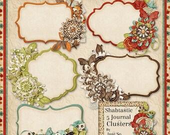 On Sale 50% Shabtastic Digital Scrapbook Kit Journal Cluster Cards - Digital Scrapbooking
