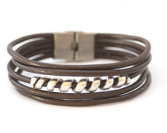 Men's Bracelet brown leather and silver spiral stainless steel clasp - men jewelry - brown bracelet - leather and metal