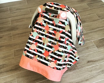 Carseat Canopy / Coral and Black / Floral / Gold Flowers / FREE SHIPPING in USA