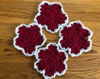 Snowflake Coasters-Red w/ white trim-Set of 4