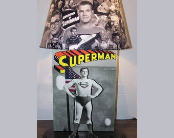 Adventures of Superman Gorgeous custom LAMP AND SHADE 1952 to 1954 from black and white episodes