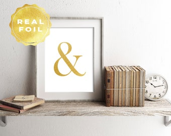 Real Gold Foil Ampersand Art Print 4 x 6, 5 x 7, Silver Foil, Minimalist, Modern Home Decor, Print Series, Room Decor, Office Decor, Elegant