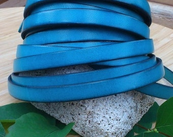 Blue Ultramarine flat leather high quality 10mm per 1 meter