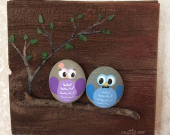 Painted Owls Stones on Barn Boards