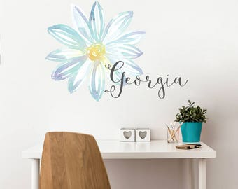 Watercolor Flower Wall Decal - Girl Name Sticker - Watercolor Wall Art - Girl Bedroom Decor