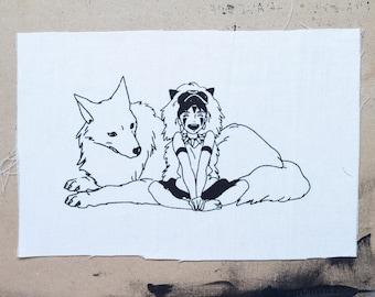 Princess Mononoke San and Moro Fabric Patch