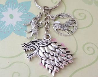 Silver Wolves/Direwolf Head Keychain - Ready to Ship