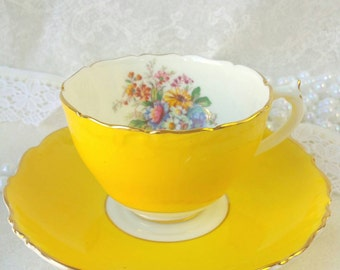 COALPORT Yellow Corset Tea Cup and Saucer Made in England /Pink Floral/ Vintage Tea  / Shabby Elegant Teacup Set