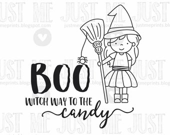 Cute witch digital stamp