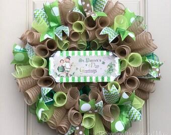 St. Patrick's Day Wreath, St. Patrick's Day Deco Mesh Wreath, St. Patrick's Day Decor, Irish Wreath