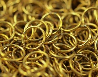 12mm Jump Ring - 100 Raw Brass Jump Ring (12x1.2mm) A0373