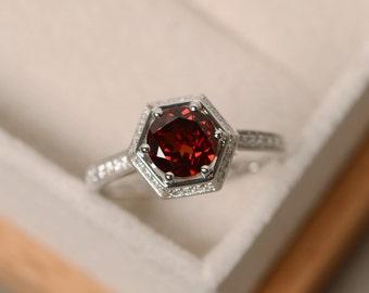 Garnet engagement ring, sterling silver, January birthstone ring, wedding ring, red gemstone , ring garnet