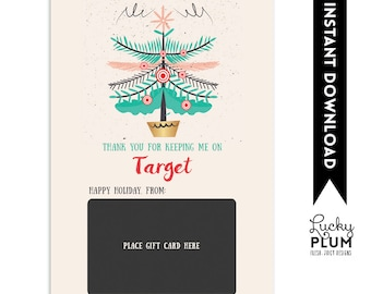 Target Gift Card Holder / Teacher Thank You Card / Christmas Gift Card Holder / Teacher Appreciation Gift / Thank You for Keeping on Target