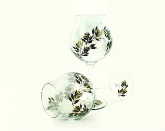 Hand Painted CRYSTAL Red Wine Glasses, Set of 2 - Gold and Black Roses - 50th Wedding Anniversary Gift Idea Painted Stemware
