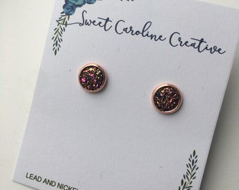 Tiny Round Stud Earrings. Copper shimmer design, Rose Gold outside , 8mm round.