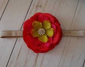 Floral rhinestoned headband