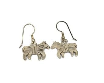 Native American Sterling Silver Horse Earrings