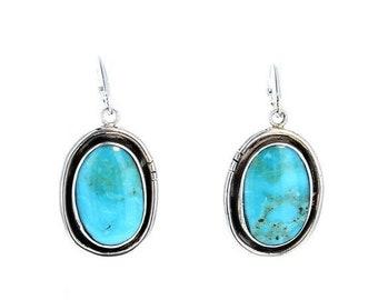 40% Off Earring Sale : ) KINGMAN TURQUOISE EARRINGS Sky Blue Leverback NewWorldGems