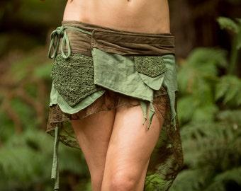 Pixie Pocket Skirt (Green) - Festival Clothing Fairy Elf Sexy Hippie Boho Goa Festival Pixie Gypsy Bohemian Skirt