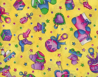 Giggles Quilt Fabric by Hoffman,Baby Things On Yellow, By the half yard