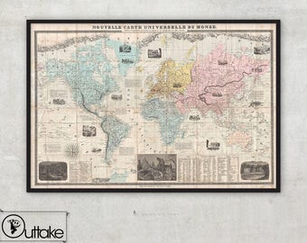 Vintage World Map canvas,ready to hang, 109