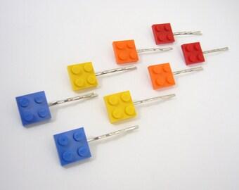 Brick Bobby Pins, set of 8