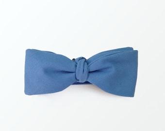 Men's Bow Tie, Sky Blue Cornflower blue Cotton Self bow Tie for Men, Wedding / READY TO SHIP
