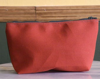 2 Tone Canvas Zippered Pouch in Rust & Olive Drab , Medium Size