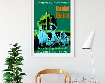 Haunted Mansion Disneyland Attraction Poster,  New Orleans Square, Disneyland Ride Poster, Print, Haunted Mansion Poster, Not Framed