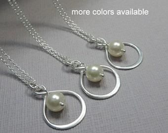 Infinity Necklace, Bridesmaid Gift, Bridesmaid Necklace, Swarovski Ivory Pearl Necklace, Infinity Bridesmaid Necklace, Wedding Necklace