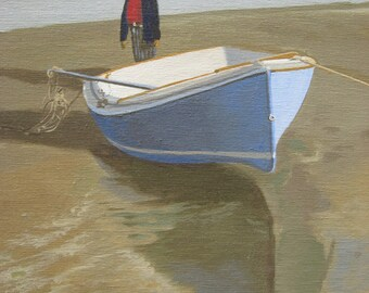Boy with the Boat - Fine Art Canvas Print, Cape Cod, Beach, Ocean, Sailboat, Seashore