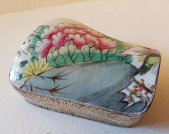 Chinese porcelain silver box