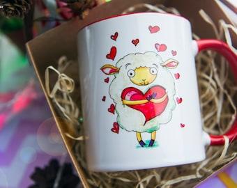 Sheep Mug Watercolor Ceramic Mug Unique Gift original art  Coffee Mug Animal Mug Tea Cup Art Illustration Art Printed mug Animal Gift Love