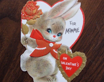 Vintage Valentine, USED, 1950s, no envelope, for Mommie, Ranch House Vintage