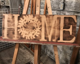 Wood Sign with Burned in Home Design